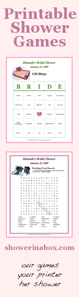 Shower in a Box - Printable shower games